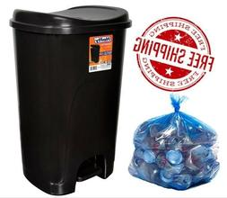 Can Trash 13 Gallon Tall With Lid Step Free Touch Plastic Fo