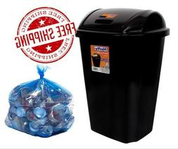 Can Trash 13 Gallon With Swing Lid Tall Plastic Garbage Bin