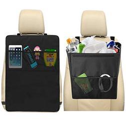lebogner Car Trash Can + Kick Mat Seat Back Protector with 3