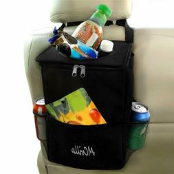 Car Trash Can with Lids and Storage Pockets