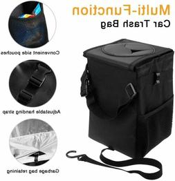 Car Trash Garbage Can Bag with Lid and Storage Pockets LeakP
