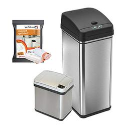 iTouchless CDZT02BG10 Combo Pack Sensor Trash Cans with 10 P