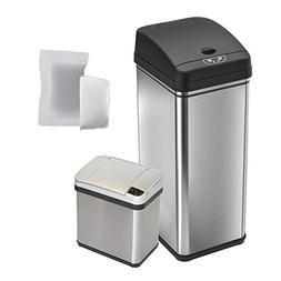 iTouchless CDZT02CF02 Combo Pack Sensor Trash Cans with 4 Fi