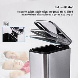 CLTEC Rectangular Bathroom Trash Can with Lid Soft Close, Sl