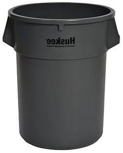 CMC 5500GY Huskee Grey Round Receptacle, 55 gallon Capacity,