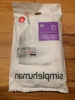 Code A 30 Ct SIMPLEHUMAN Custom Fit Trash Bags Can Liners Re