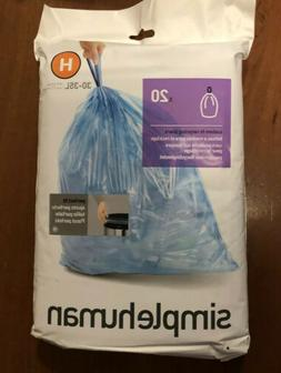 simplehuman Code H Custom Fit Recycling Liners, Drawstring T