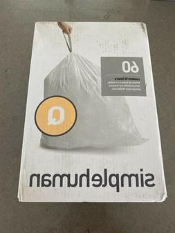 simplehuman Code Q 50-65L Custom Fit Trash Can Liner 60 Pcs