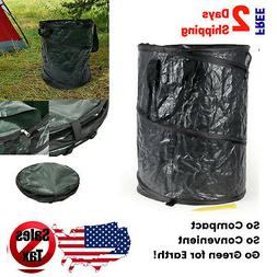 Collapsible Trash Can Pop Up Garbage Bin 33 Gallon  With Zip