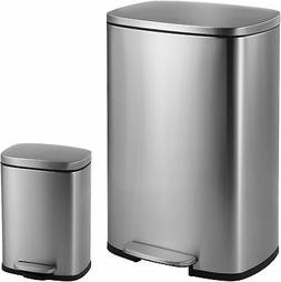 Connor Rectangular 13-Gallon Trash Can With Soft-Close Lid A