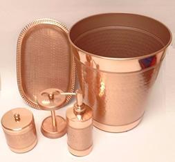 MoonNewyork NEW COPPER ROSE GOLD METAL,SOAP DISPENSER+TRAY+T