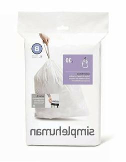 simplehuman Custom Fit Trash Can Liner B, White - White - 30