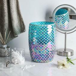 Decorative Blue Mosaic Glass Wastebasket/Trash Can - Bathroo