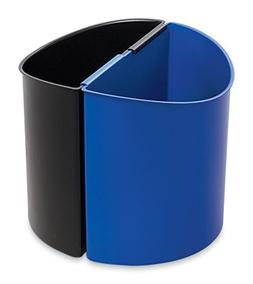 * Desk-Side Recycling Receptacle, 3 gal, Black and Blue