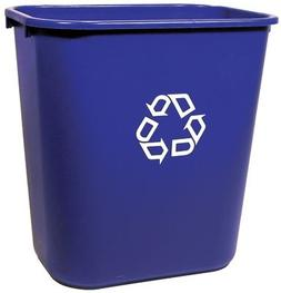 deskside blue recycle trash cans