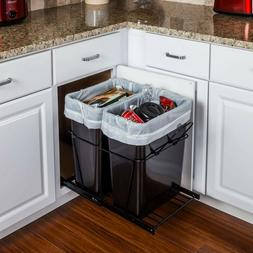 Double 35 Quart Black- Trash Can Pull-Out System- with 2 Can