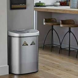 Double Stainless Steel Recycling Trash Bin 18 GAL Garbage So