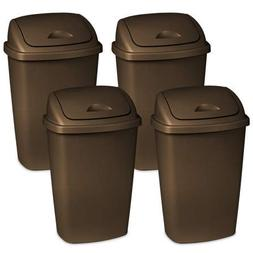 4 Pack of Dual-Action Swing-top 13.2 Gallon Wastebasket, Bro