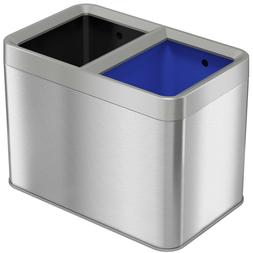 Dual Compartment Slim Open Top Waste Bin for Trash Can & Rec