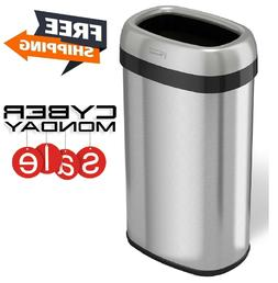 iTouchless Dual-Deodorizer Oval Open Top Trash Can Stainless