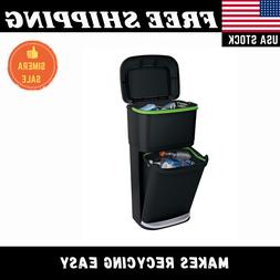Dual Trash Can 13 Gallon Pedal Step On Plastic Rubbish Bin R