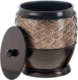 Durable Resin Small Trash Can with Lid Decorative Wastebaske