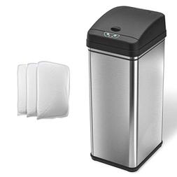 iTouchless Automatic Trash Can with 4 Odor Filters, Big Lid