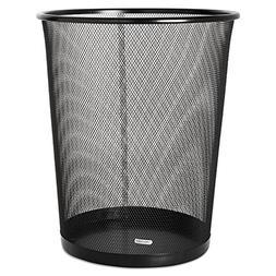 Rolodex 22351 4 1/2 Gallon Steel Black Round Mesh Trash Can