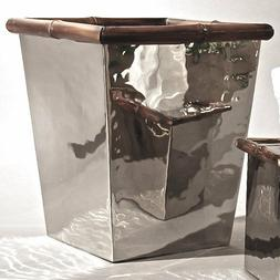 Fancy Nickel Finish  Steel/Bamboo Waste Basket Trash Can Bat