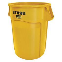 RUBBERMAID FG264360YEL 44 Gal. Brute Plastic Round Trash Can