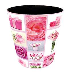Petforu 10L Flowers Wastebasket Leather Trash Can Bedroom in