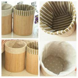 Foldable Bamboo Dustbin Rubbish Waste Bin Kitchen Trash Can