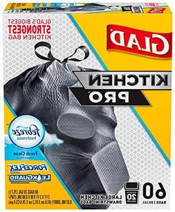 Glad ForceFlex Kitchen Pro Large Drawstring Trash Bags 20 Ga