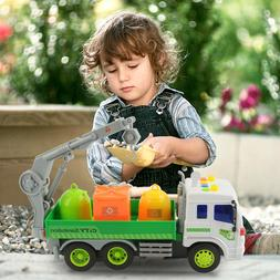 Friction Powered Garbage Truck Toy City Sanitation Vehicle W