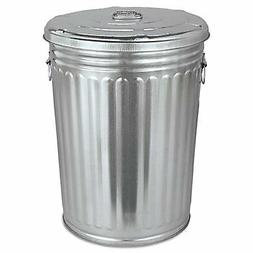 Pre-Galvanized Trash Can With Lid, Round, Steel, 20gal, Gray