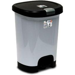 Garbage Bin 7 Gallon Textured Step On Trash Can Lid Lock Bot