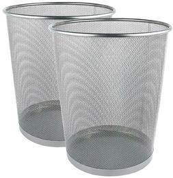 Greenco Mesh Wastebasket Trash Can, 6 Gallon, Silver, 2 Pack