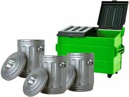 Green Dumpster & 3 Silver Trash Cans For WWE Wrestling Actio