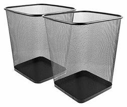 Mesh Wastebasket Trash Can Square 6 Gallon Black 2 Pack Cans