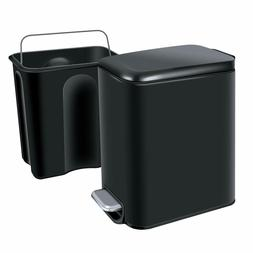H+LUX Gloss Black Rectangular Small Trash Can with Lid Soft