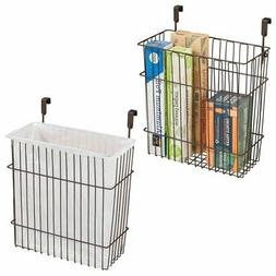 mDesign Hanging Over Door Kitchen Storage Organizer Basket/T