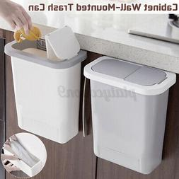 Hanging Trash Can With Lid Kitchen Cabinet Door Waste Bin Pu