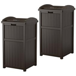 Suncast Hideaway Outdoor 33 Gallon Garbage Waste Trash Can B