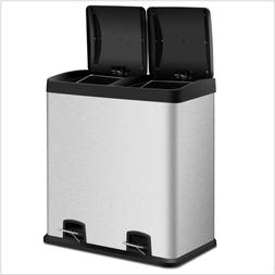 Home Large 16-Gallon Dual Compartment Kitchen Trash Can with