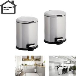 HOME ZONE Set of 2 5L Stainless Steel OVAL STEP TRASH CAN