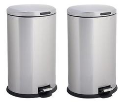 HomeZone 40-Liter Stainless Steel Oval Step Trash Can )