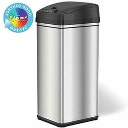 13 Gallon Stainless Steel Automatic Trash Can with Odor-Abso