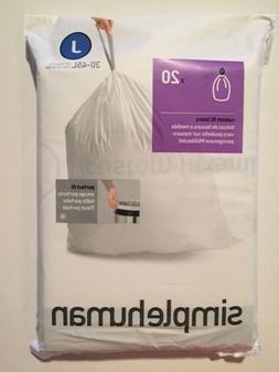 J Simplehuman Plastic Trash Can Liners J 8-12 Gallon 20 Pack