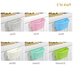 Kitchen Cabinet Door Hanging Trash  Plastic Trash Can 3pc