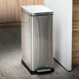 Home Zone Living Kitchen Pedal Trash Can, 12G/45L, Retangula